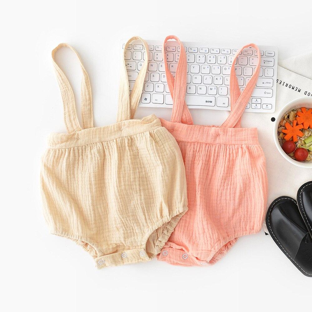 Summer Infant Baby Girl Rompers Korean Casual Linen Clothings Kids Girl Clothings