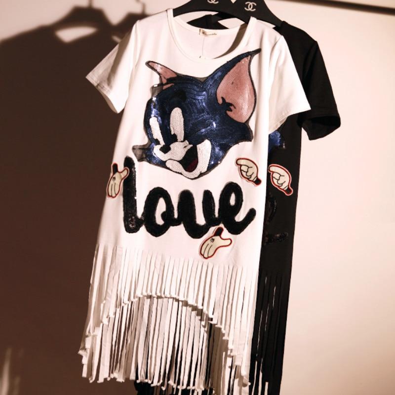 Cartoon Sequins Cat Embroidery T-Shirts Long Fringed Irregular Beading Shirt Dress Women's Short Sleeved Cotton Tees Tassel Tops