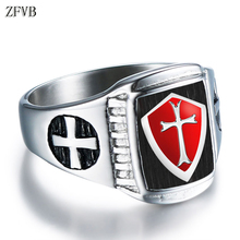 ZFVB HipHop Cross Rings Mens High polishing 316L Stainless Steel Punk Silver colour Saint Seiya Shield Ring for Men Jewelry Gift
