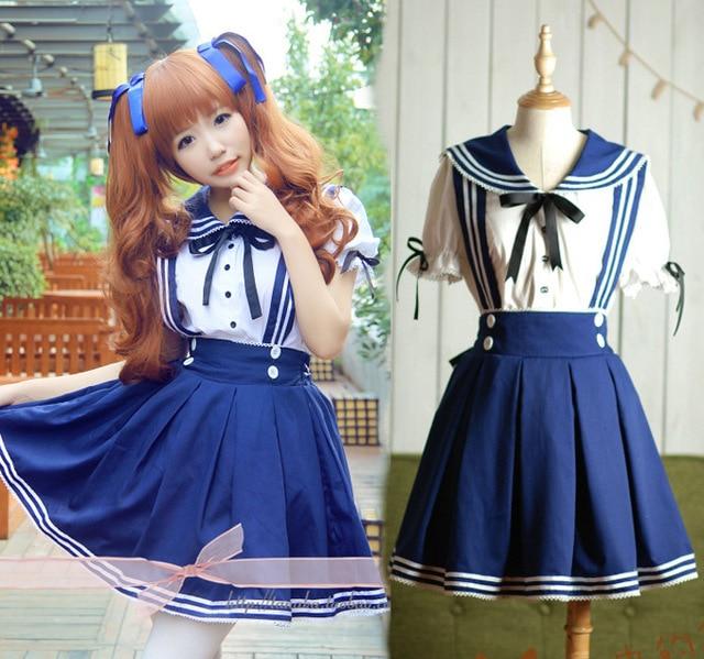 Plus Size Japanese Sailor School Uniform For Girls Lolita Dress Navy