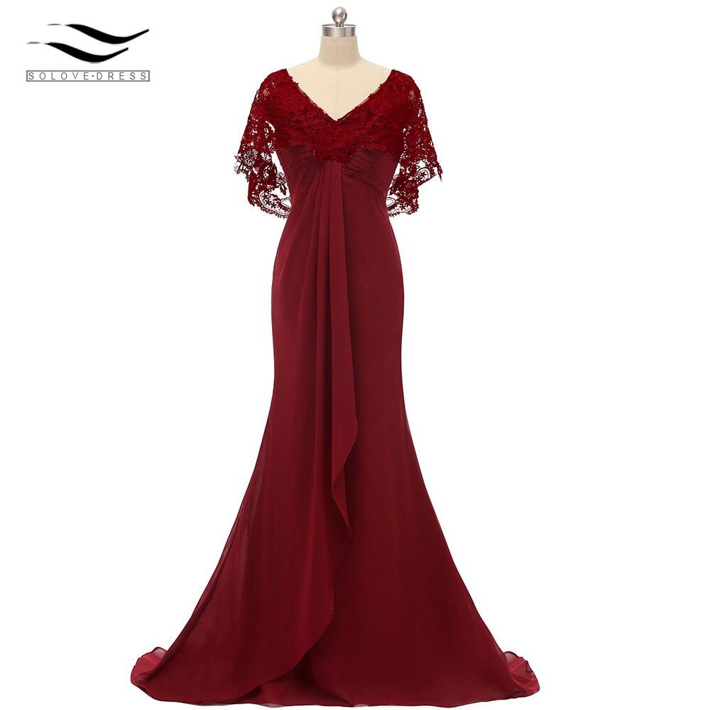 Women's Lace Chiffon V Neck V Back Floor Length Mother Of The Bride Dress Elegant A Line Evening Gown Vestido De Festa SLD-S016