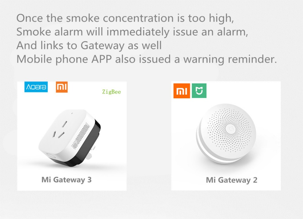 US $27 57 30% OFF|Original Xiaomi Mijia Honeywell Gas/Smoke Alarm Detector  Remote Fire Announciator Progressive Sound Mihome Remote Control APP-in