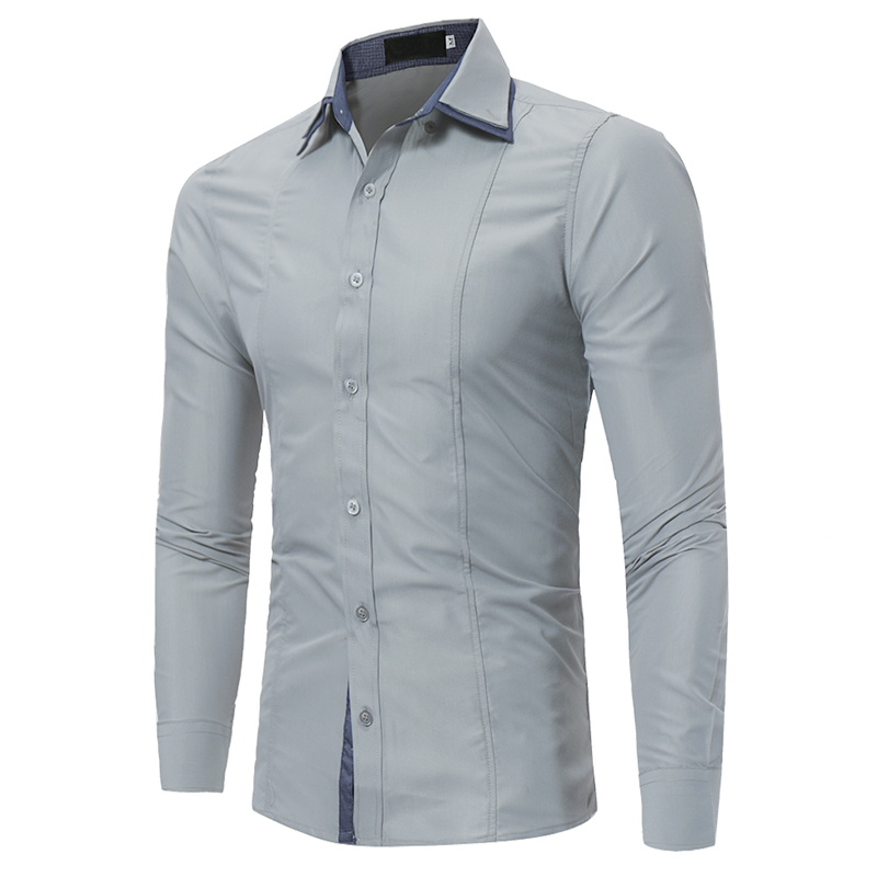 Brand 2018 Fashion Male Shirt Long-Sleeves Tops Double Collar Sleeves Patch Casual  Mens Dress Shirts Slim Men Shirt