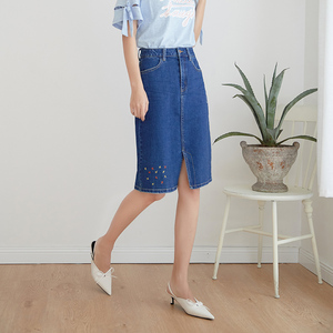 Image 4 - LEIJIJEANS New Arrival All season stretchy Knee length Embroidery Denim Skirts Plus Size Fashion Blue A line bule Women Skirts