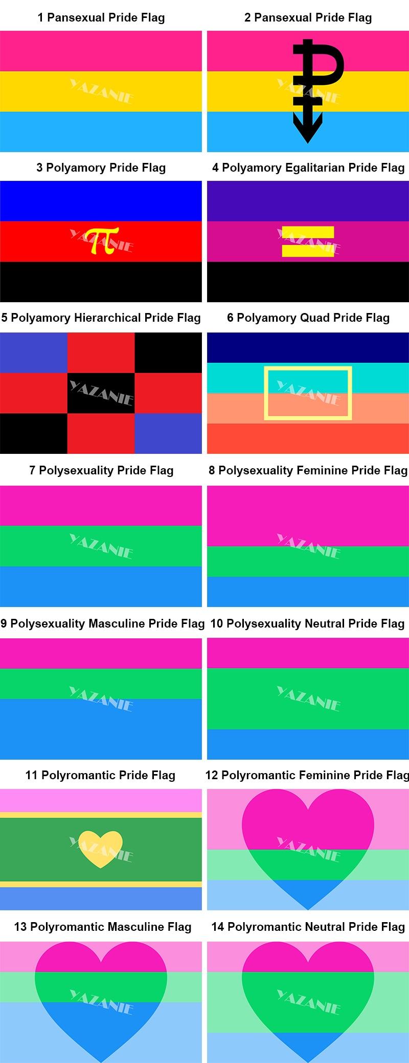 YAZANIE 128*192cm/160*240cm/192*288cm Pansexual Polyamory Quad  Polysexuality Polyromantic Rainbow Car Hand Pride Flags Banners