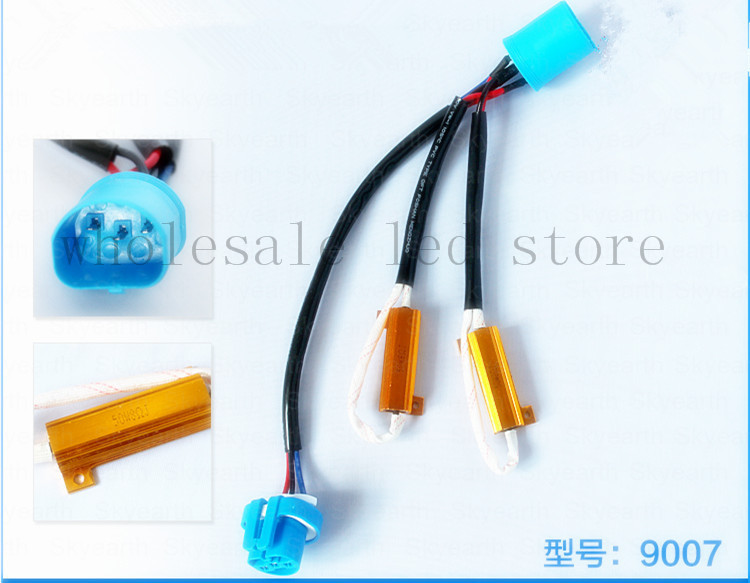 free shipping 2 piece HID decoder canceller H4 H13 9007 50w 6-8 ohm No Error Load Resistor no flickering warning canceller