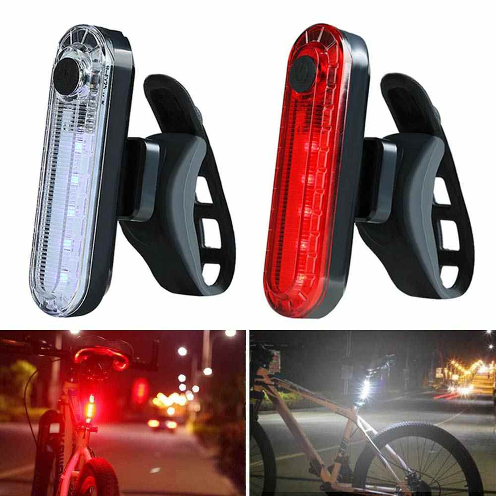 Newly USB Rechargeable LED Mountain Bike Taillight Safety Bicycle Rear Night Riding COB Warning Lights BF88