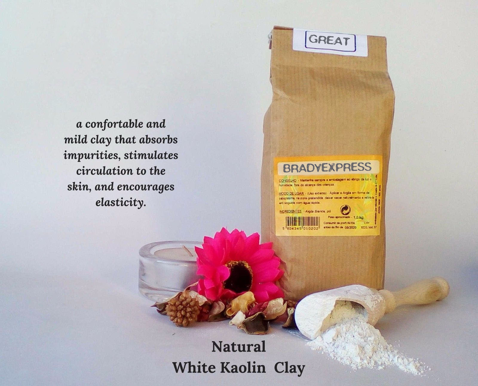 New Pure Organic White Clay Kaolin Fine Powder Face Mask  1000g  1 Kg Free Shipping