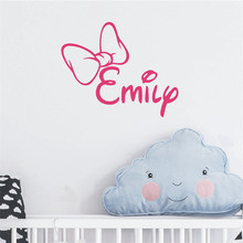 Girl Name Wall Decal Personalized Initial Bow Sticker for Kids Nursery Bedroom Decorative Vinyls Adesivo NY-271