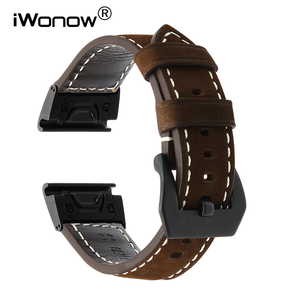 Quick Easy Fit Genuine Leather Watchband 26mm for Garmin Fenix 5X/3/3HR Watch Band Stainless Steel Clasp Strap Wrist Bracelet genuine leather watchband for suunto 3 fitness smart watch band quick release strap stainless steel clasp wrist bracelet