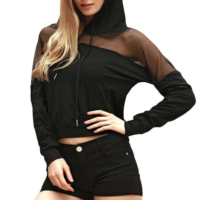 Spring Womens Sheer Shirt Long Sleeve Sexy Black Mesh Top T Shirts Transparent Punk Club Streetwear Tees Hood Tops W0