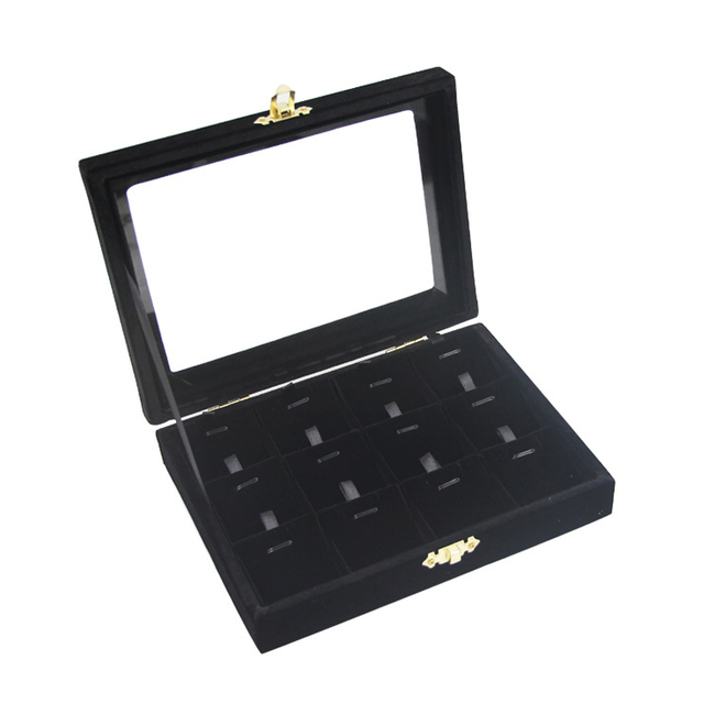 Free Shipping 12 Slots Black color Jewelry display casket Jewelry