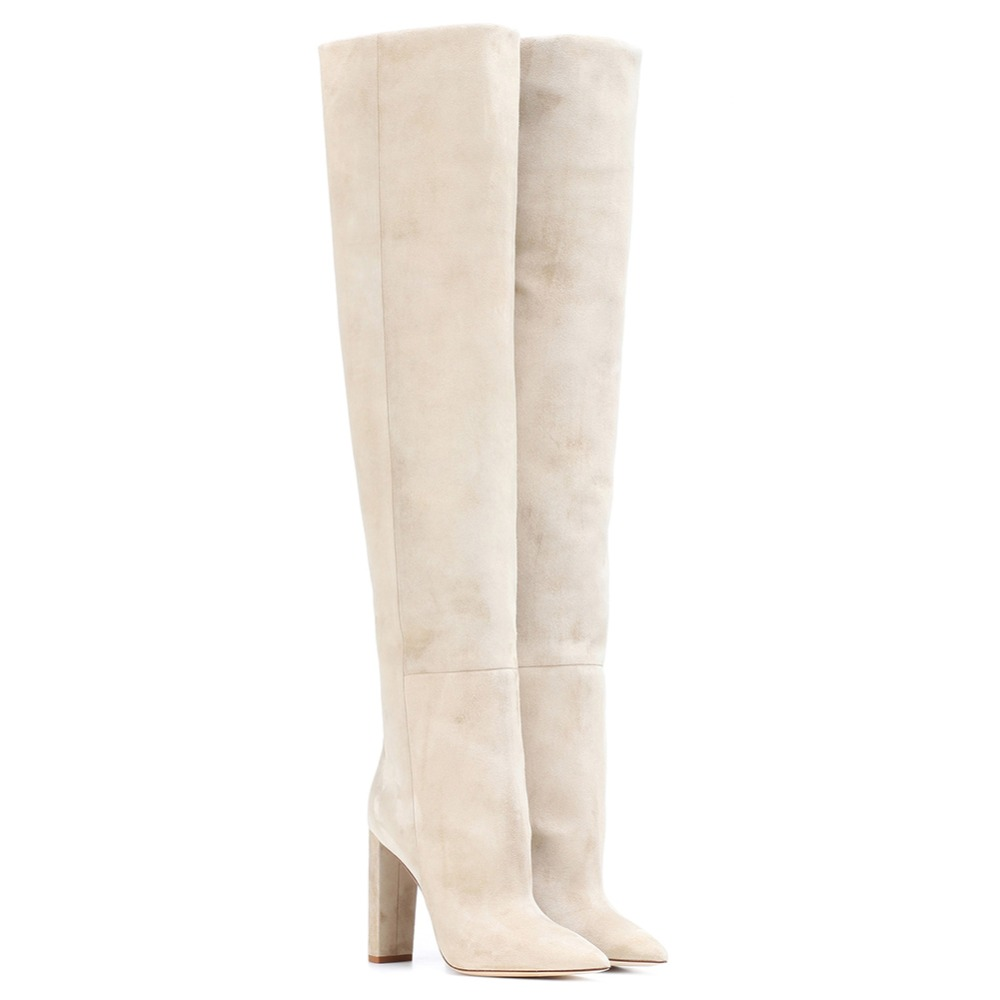 Knee High Slouchy Boots Pointy Toe