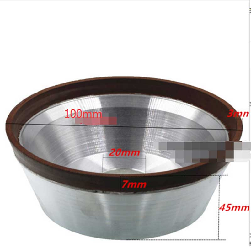 Diameter 100 Hole 20mm Flaring cup diamond grinding wheel bowl shape diamond abrasive wheel for tungsten carbide hard alloy E024
