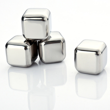 FLST 4Pcs Whiskey Wine Beer Stones 440C Stainless Steel Cooler Stone Whiskey Rock Ice Cube Edible Alcohol Physical Cooled