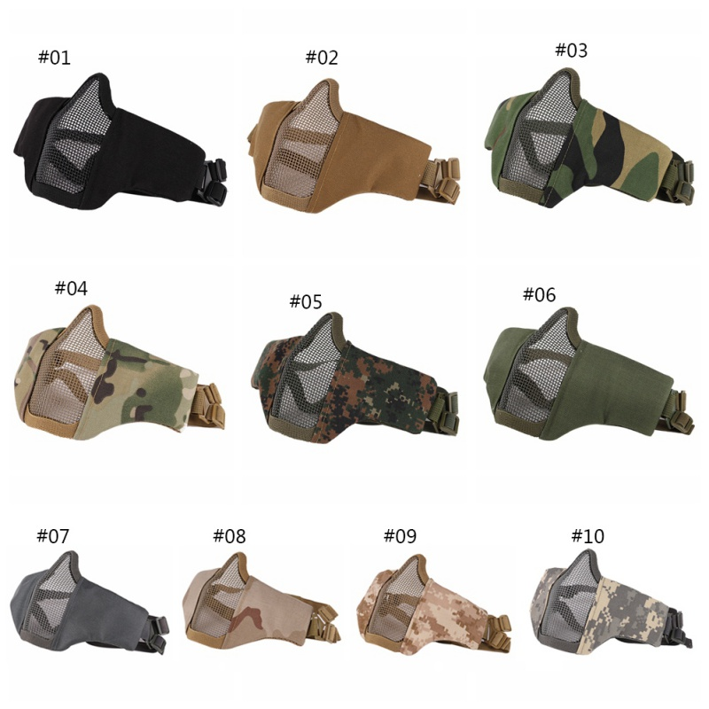 Hot Airsoft Mask Half Lower Face Metal Steel Net Mesh Mask Hunting Cycling Tactical Protective CS Halloween Party Half Face Mask