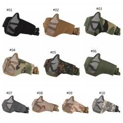 Quente airsoft máscara meia face inferior metal malha líquida de aço máscara caça ciclismo tático protetora cs halloween party meia máscara facial
