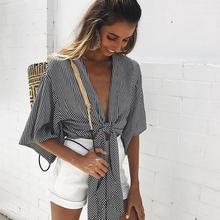 2019 Sexy Women Tops and Blouse Women Long Sleeve Striped V-neck Tie Cardigan Short Jacket Women Ladies Blouse Chemisier Femme ruffle sleeve tie neck striped blouse