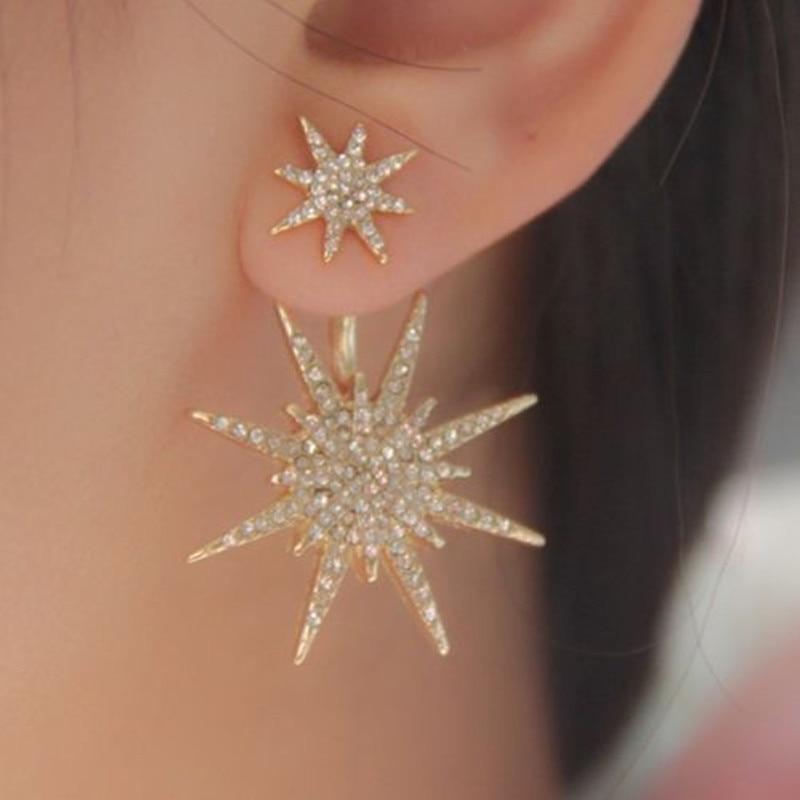 2016 New Fashion Crystal Rhinestone Earrings Big Star Ear Gold ...