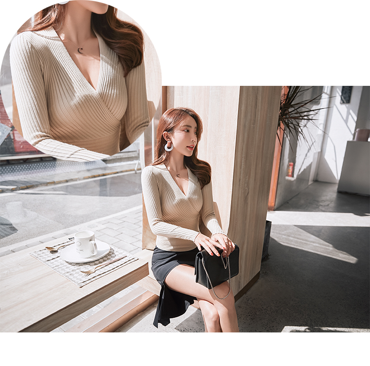 19 New Sexy Deep V Neck Sweater Women's Pullover Casual Slim Bottoming Sweaters Female Elastic Cotton Long Sleeve Tops Femme 9