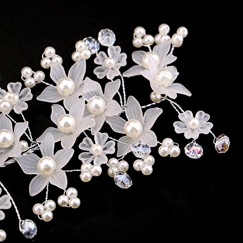 Kristal İnci Çiçəkli Barretlər Gəlin Baş Dəsti Əlli Saç - Moda zərgərlik - Fotoqrafiya 5