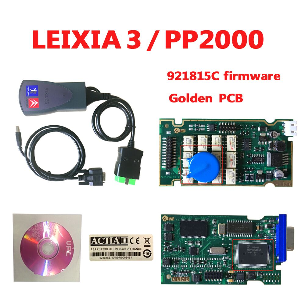 2018 plus récent outil de diagnostic automatique de voiture Lexia3 PP2000 V48/V25 Lexia 3 Diagbox pcb d'or