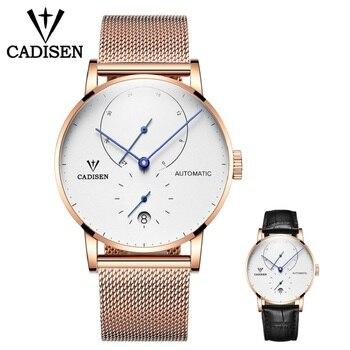 CADISEN Mens Watches Set Top Brand Luxury Watch Men Stainless steel Mesh Belt Clock Style Automatic Mechanical Wristwatch Mechanical Watches
