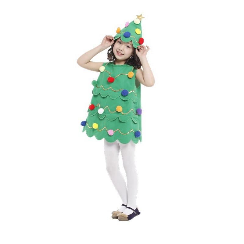 Christmas Party Children Girl Green Christmas Tree Dress Costume