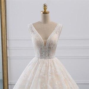 Image 4 - Fansmile lüks dantel uzun tren topu cüppe şeklinde gelinlik 2020 Vestidos de Novia prenses kalite düğün gelinlik FSM 524T