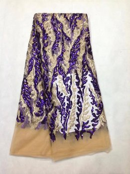 French Lace Fabric High Class African Laces Fabric Double Organza With Sequins Embroidery For Sewing Beauty Women Dress JL013