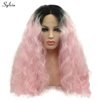 Sylvia Water Wave Two Tone Pink Ombre Black Root Synthetic Lace Front Wig Graceful Long Middle