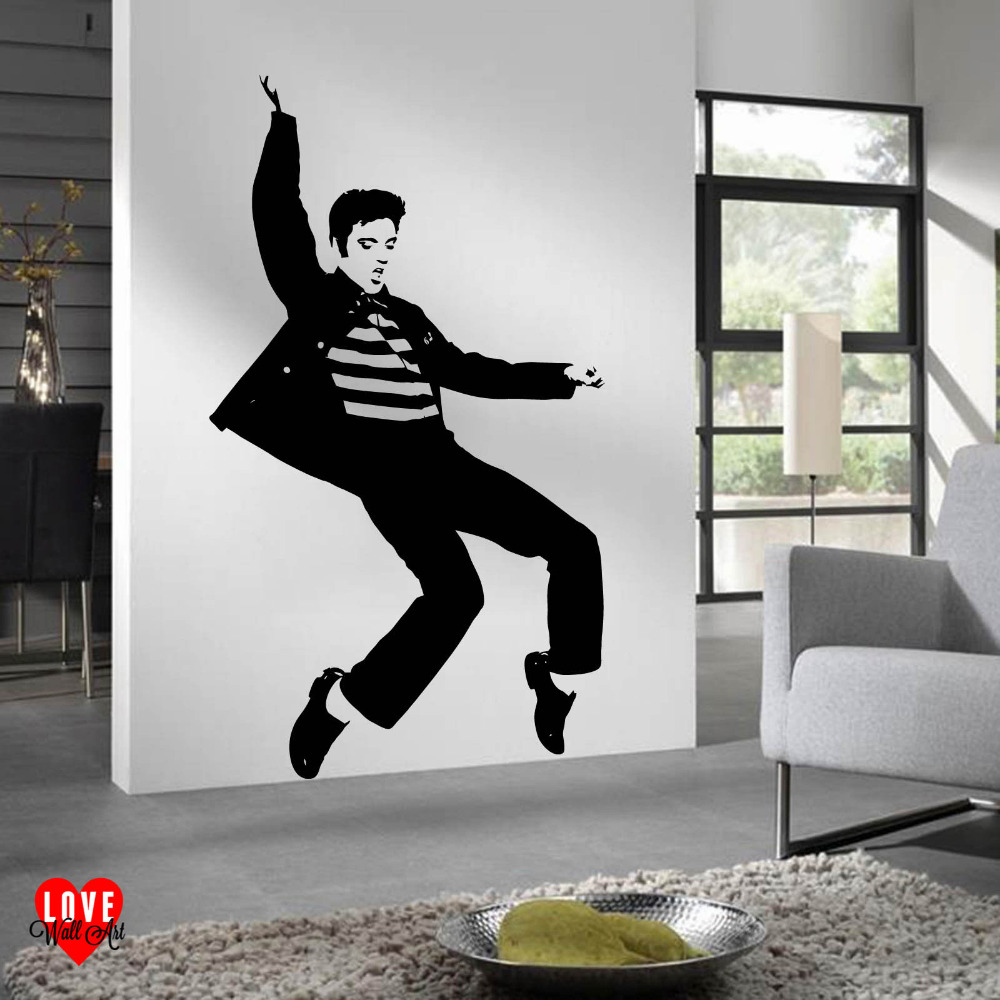Wall stickers extra - 2017 Hot Star Wall Decals Elvis Presley Jailhouse Rock Extra Large Wall Art Wall Sticker Living