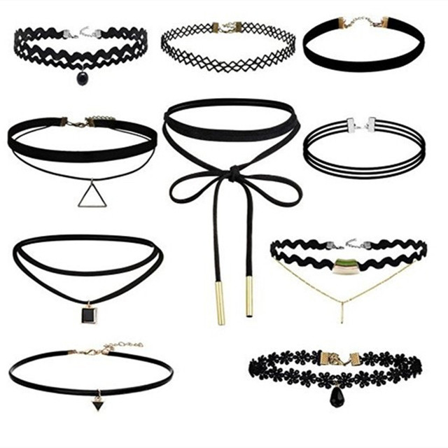 AIWGX 10 Pcs/lot Gothic Collar Jewelry Black Torques Set Alloy Velvet Lace Chokers Necklaces Chokers for Women