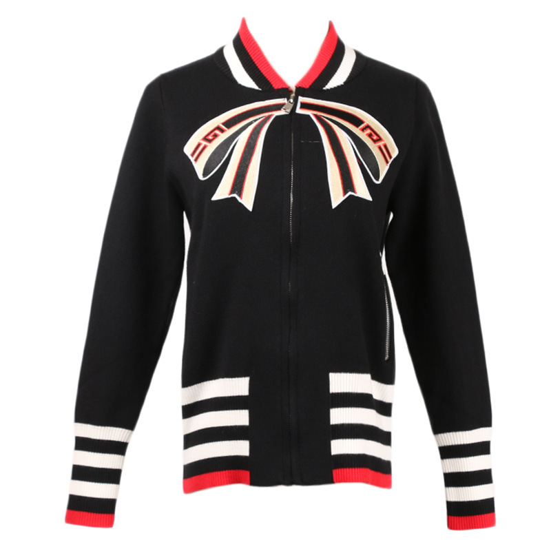 Women Vintage Black White Color Tie Bow Knitted Coat High Street Zipper Jacket Ladies Casual Slim Pocket Outerwear Coat Runway