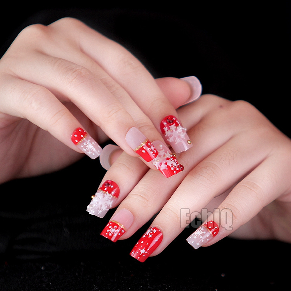 Christmas Nail Designs With White Tips: Sexy Red French Nail Tips Flat Medium Full Cover For