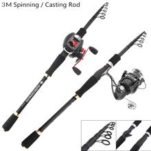 3.0m Carbon Lure Fishing Rod Spinning Casting Rod 7 Sections Telescopic Ultra Light Travel Carbon Fiber Fishing Pole Lure Tackle 1 98 2 1 2 4m high carbon lure rod 2 sections bait casting spinning fish rod 2 tips m mh telescopic fishing pole fishing tackle