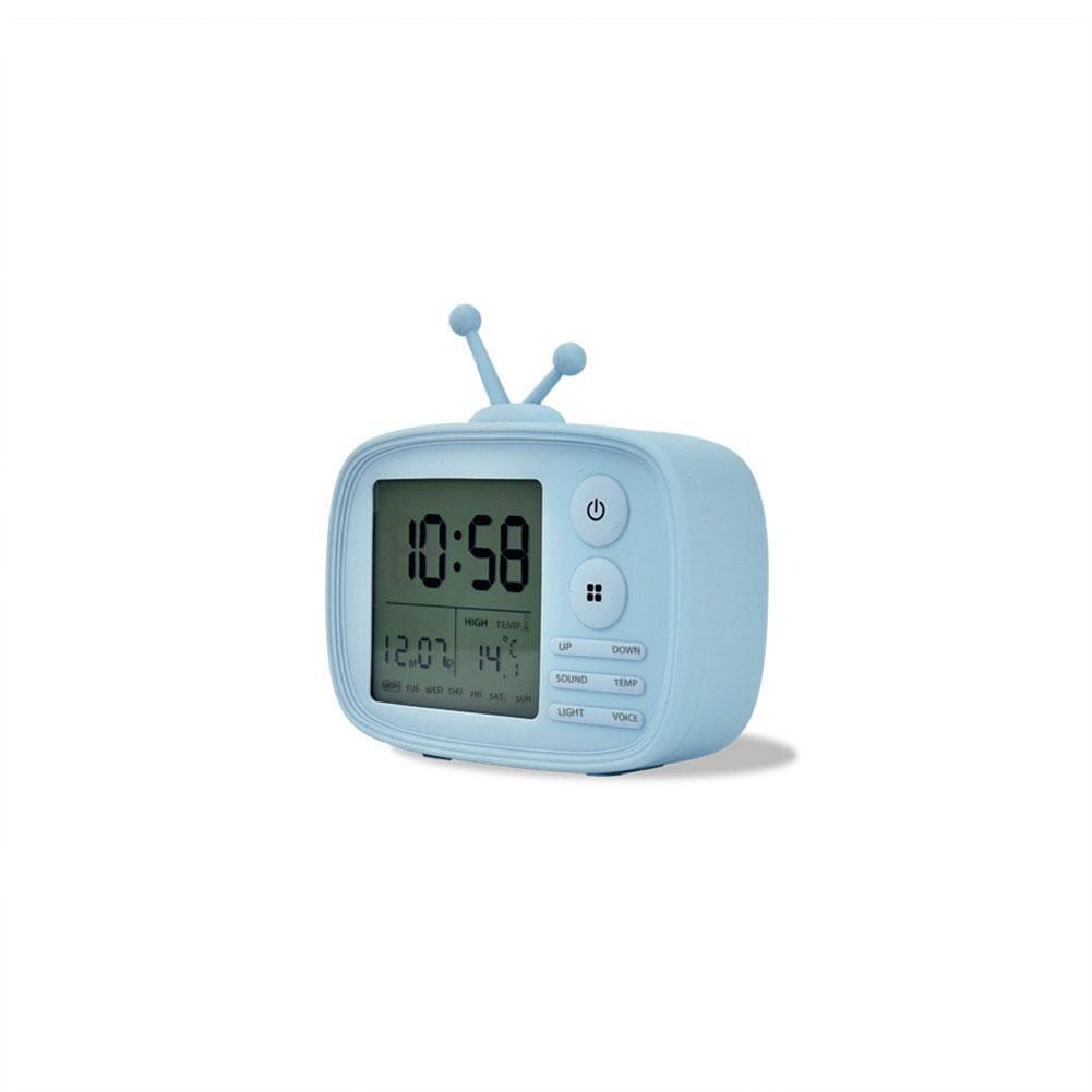 LumiParty USB Charging Cartoon TV Shape Electronic Alarm Clock Desktop Clock Temperature Calendar Display Decoration Gift -30