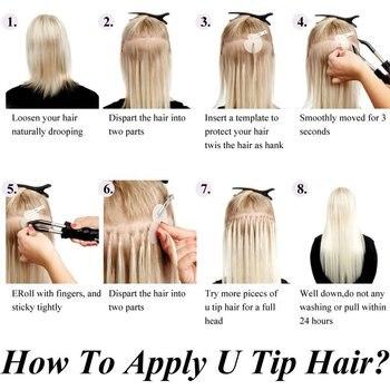 Neitsi Straight Keratin Capsules Human Fusion Hair Nail U Tip Machine Made Remy Pre Bonded Hair Extension 16 6