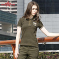Free Army Brand 2015  New Fashion Short Sleeve Cotton Striped T-Shirt Women's Slim Body Tee Shirts Casual Army Green Tops GS-880