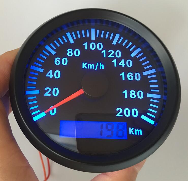 1pc 100% brand new 85mm auto tuning gauges GPS speedometers odometers ratemeters 0-200km/h with BLUE backlights and antenna 100% brand new gps speedometer 60knots for auto boat with gps antenna white color