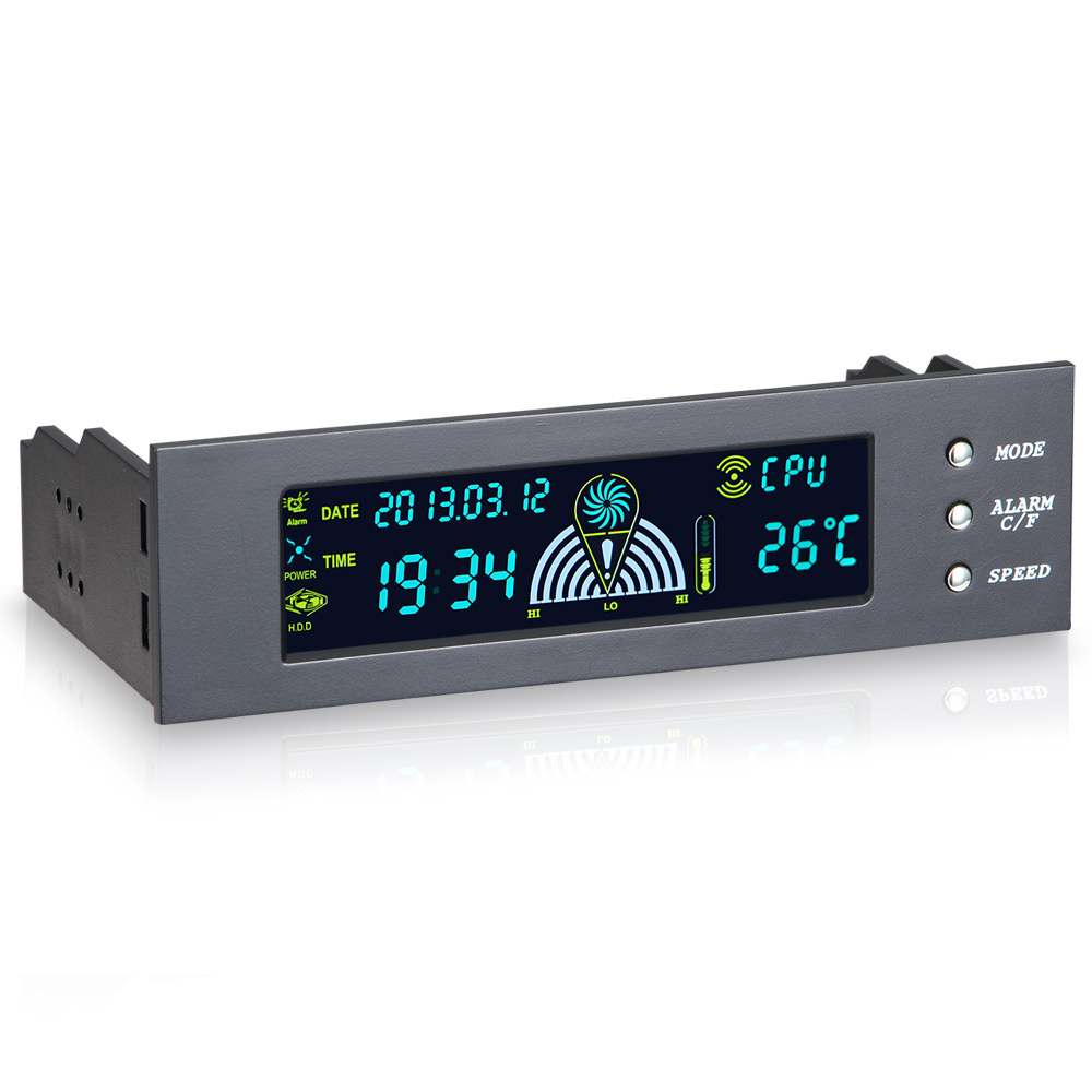 5.25inch 12V PC Computer Fan Controller 3 Fan Speed Controller Temperature Sensor LCD Digital Display Front Panel For PC