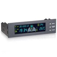 Contrôleur dordinateur 5.25 pouces, 12V, 3 ventilateurs, contrôleur de vitesse, capteur de température, écran numérique LCD pour PC