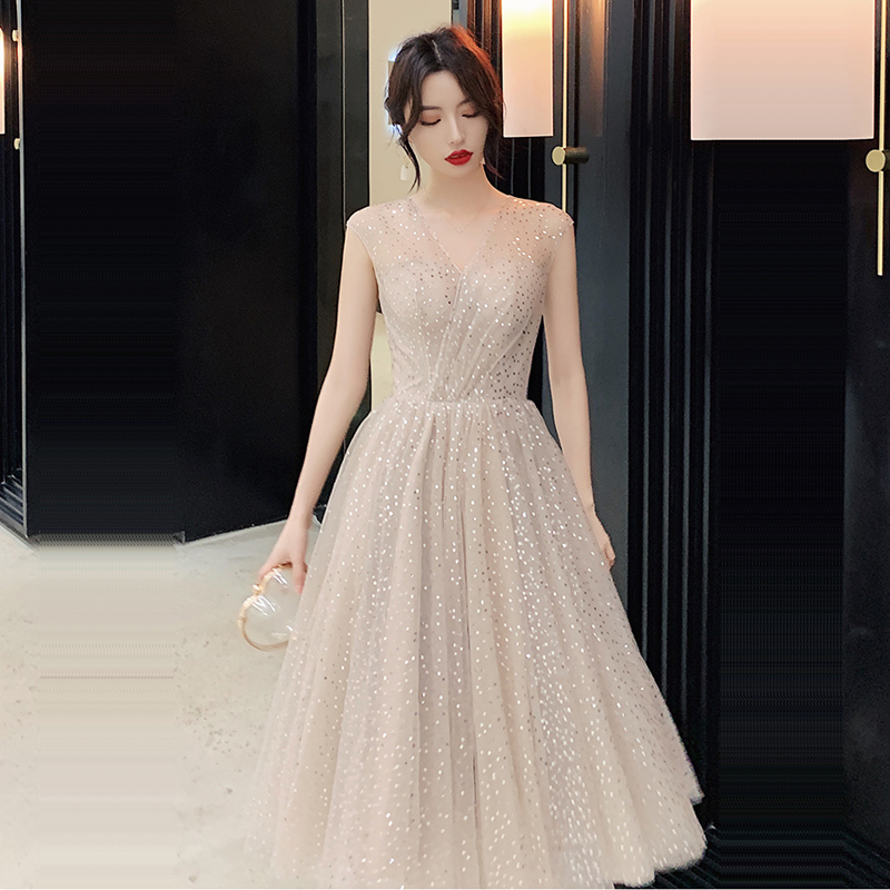 Prom Dress V-neck Vestidos De Gala Sequin Elegant Women Party Night Dresses 2019 Plus Size Sleeveless Zipper Prom Gowns E723