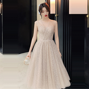 Image 1 - Prom Dress V neck Vestidos De Gala Sequin Elegant Women Party Night Dresses 2019 Plus Size Sleeveless Zipper Prom Gowns E723