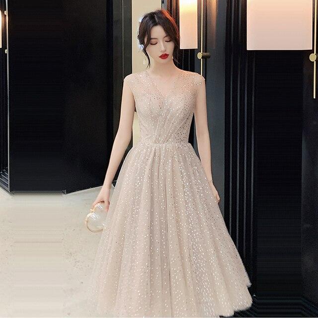 Prom Dress V neck Vestidos De Gala Sequin Elegant Women Party Night Dresses 2019 Plus Size Sleeveless Zipper Prom Gowns E723