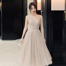 พรหมชุดVคอVestidos De Galaเลื่อมผู้หญิงElegant Party Dresses 2019 PlusขนาดแขนกุดซิปพรหมGowns E723