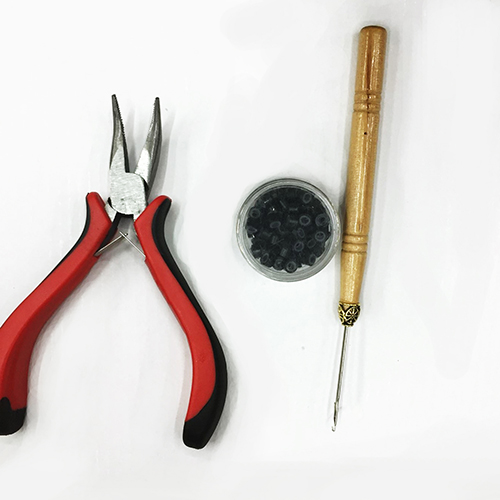 Feather Hair Extension Tool Kit Pliers + Hook + 100Pcs Micro Silicone Link Beads