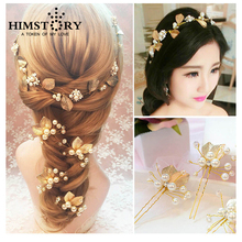 HIMSTORY Beautiful 6pcs/Set Handmade Wedding Pearl Headdress flower Rhinestone Hairwear Gold Hairpins Accessories