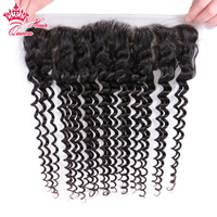 Deep wave Brazilian Virgin Human Hair Lace Frontal Closure 13x4 ear to ear 10 20 Natural Color 1B Queen Hair Products
