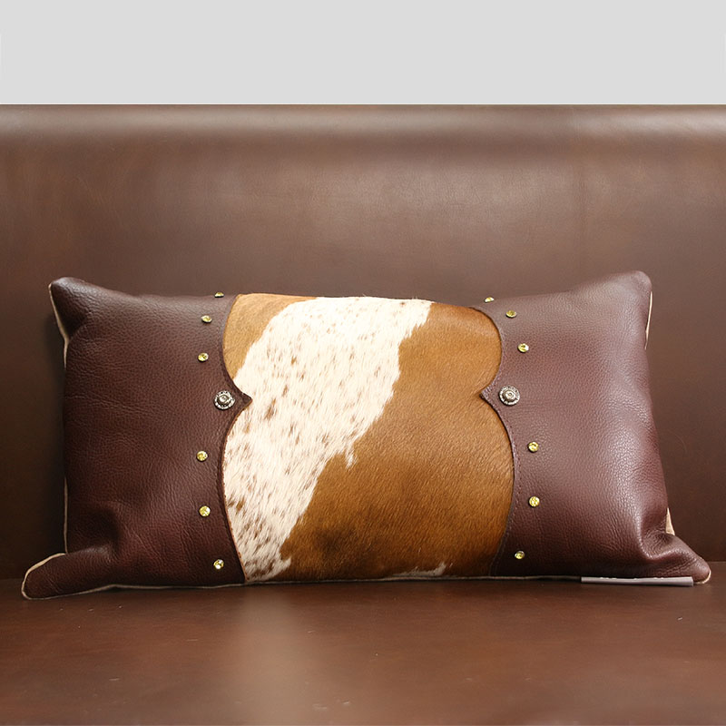 Hand Made Real Cow Leather Throw For Furniture Upholstery 30*50cm American  Style Cowhide Skin Fur Pillow Cushion With Core ,